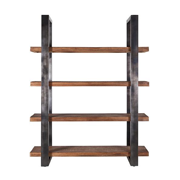 Boekenkast Mango 160cm met metalen frame Zwart.