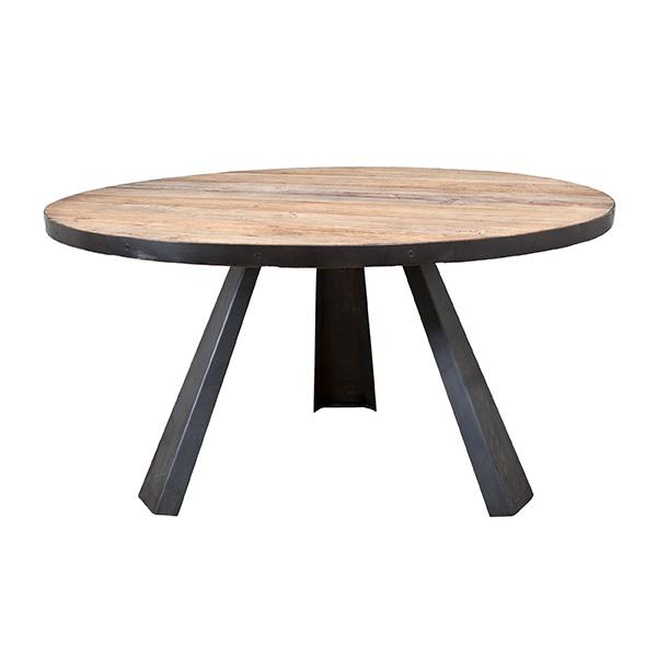 Eettafel rond met metalen poot elm.