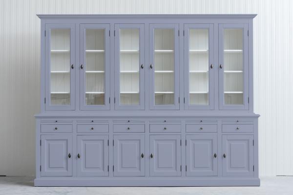 Landelijke buffetkast Bo 2x6 deuren 6-laden Lichtgrijs