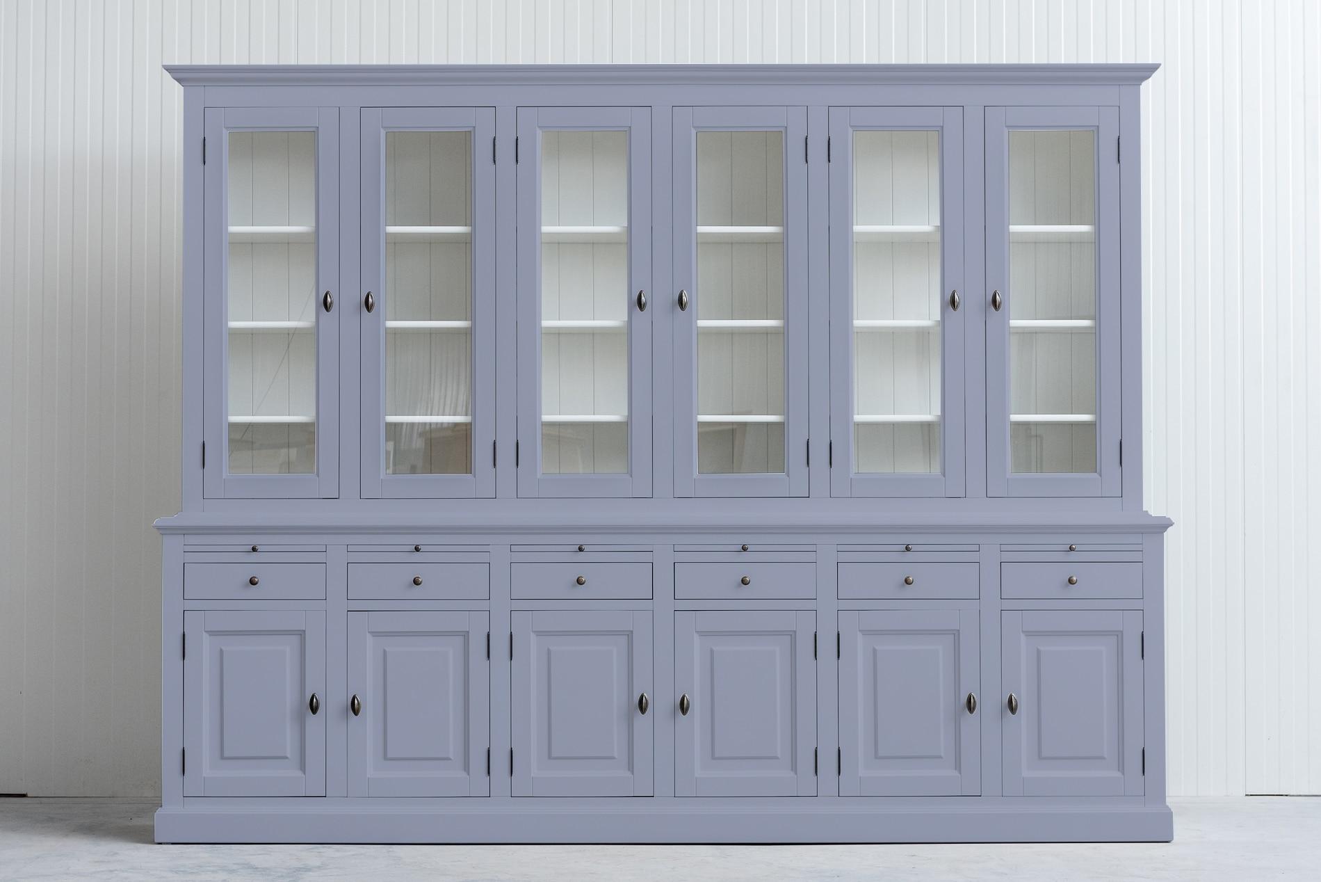 Landelijke buffetkast Bo 2×6 deuren 6-laden Lichtgrijs