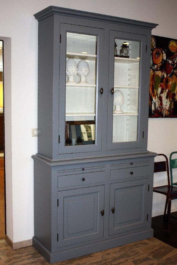 Landelijke Vitrinekast Bo 2x2-deuren 2-laden grijs.