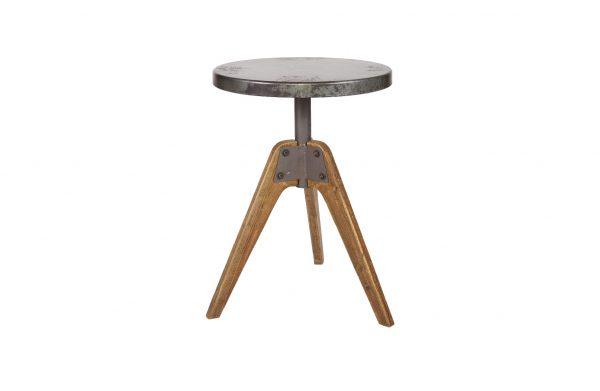 Disc bijzettafel metaal-hout