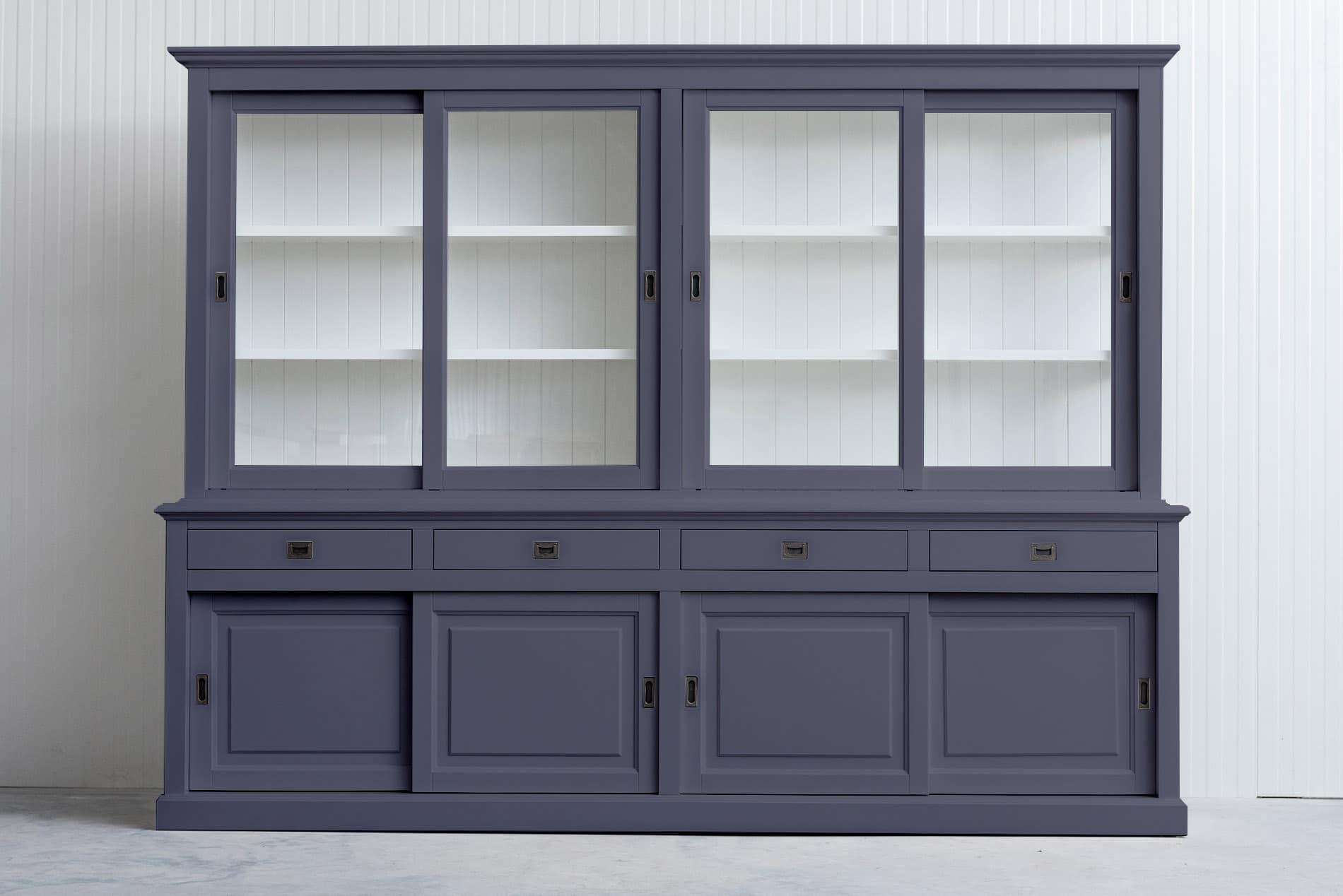 Buffetkast Bo 270 cm met dichte deuren in bovendeel – Grijs