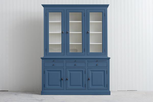 Landelijke Buffetkast Bo 2x3-deuren 3-laden duifblauw.