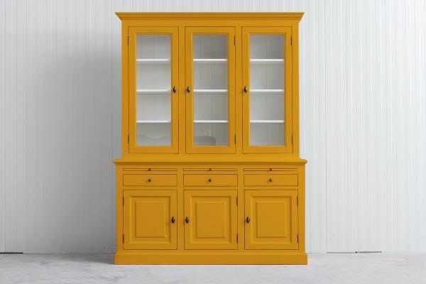 Landelijke Buffetkast Bo 2x3-deuren 3-laden goudgeel.