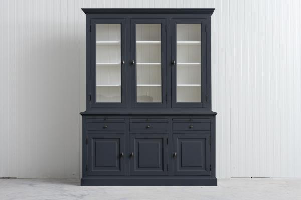 Landelijke Buffetkast Bo 2x3-deuren 3-laden grafiet grijs.