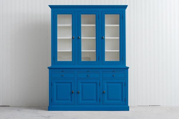 Landelijke Buffetkast Bo 2x3-deuren 3-laden hemelsblauw.
