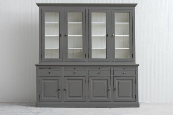 Landelijke Vitrinekast Bo 2x4-deuren 4-laden Kwarts-grijs.