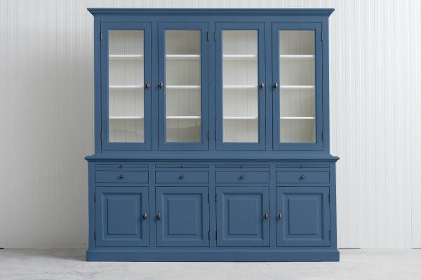 Landelijke Buffetkast Bo 2x4-deuren 4-laden duifblauw.