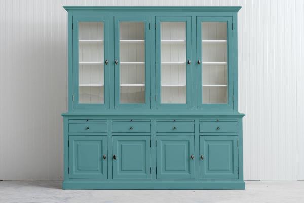 Landelijke Buffetkast Bo 2x4-deuren 4-laden Pastel-turquoise.