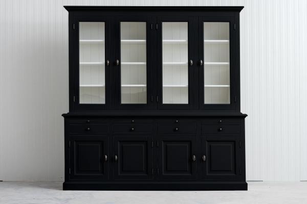 Landelijke Buffetkast Bo 2x4-deuren 4-laden zwart.