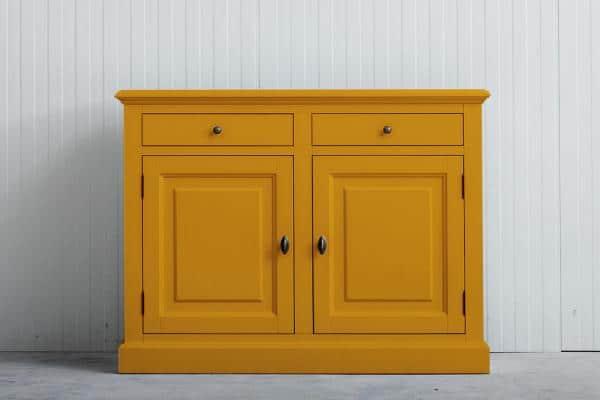 Landelijk dressoir Bo 2-deuren 2-laden Goudgeel.