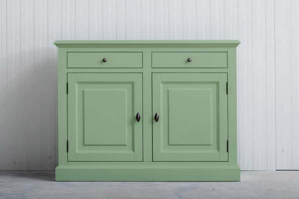Landelijk dressoir Bo 2-deuren 2-laden Witgroen.