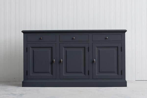 Landelijk Dressoir Bo 3-deur 3-laden Grafietgrijs.