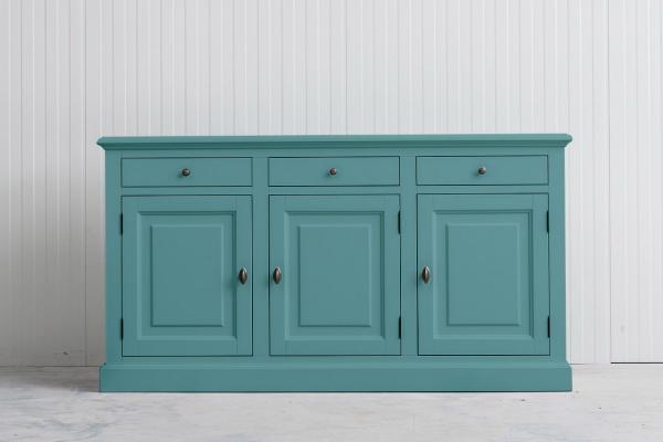 Landelijk Dressoir Bo 3-deur 3-laden Pastel-turquoise.