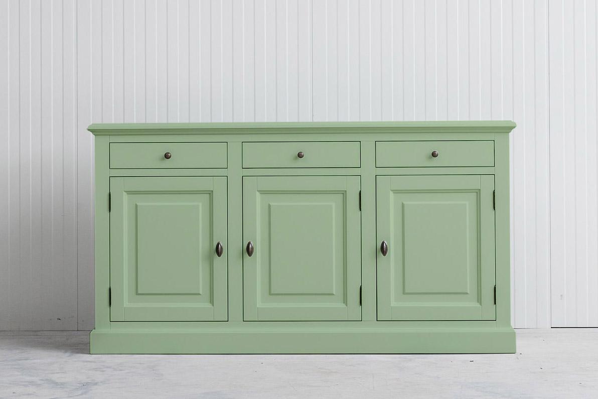 Landelijk dressoir Bo 3×3 witgroen (RAL6019)