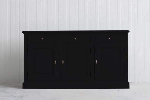Landelijk Dressoir Bo 3-deuren 3- laden zwart