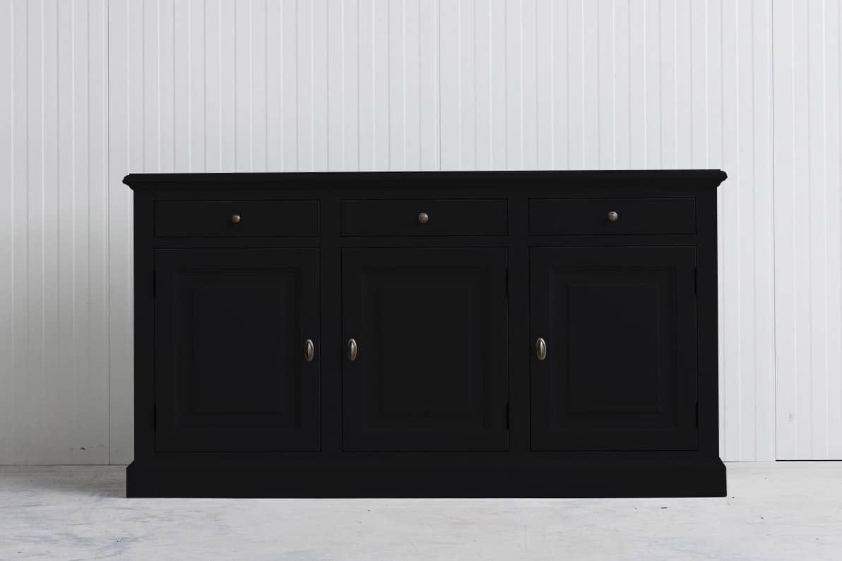 Landelijk dressoir Bo 3×3 zwart (RAL9005)