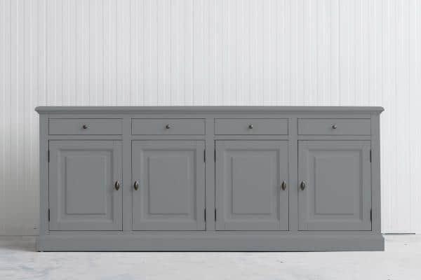 Landelijke Dressoir Bo 4-deuren 4-laden Grijs-Aluminiumkleurig.