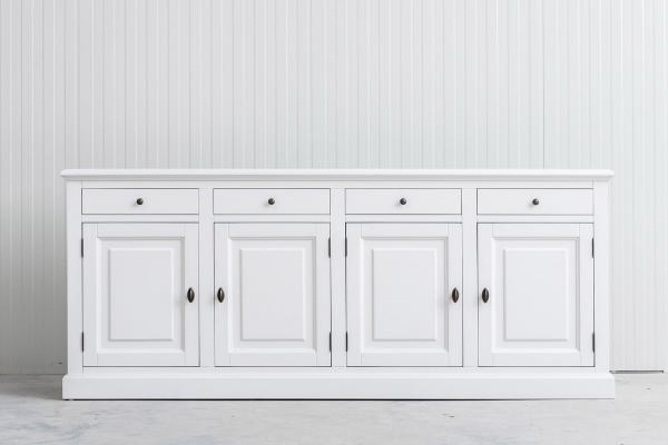 Landelijke Dressoir Bo 4-deuren 4-laden Wit.