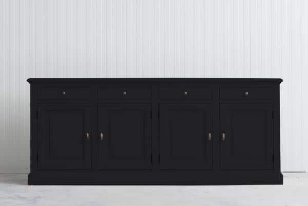 Landelijke Dressoir Bo 4-deuren 4-laden zwart