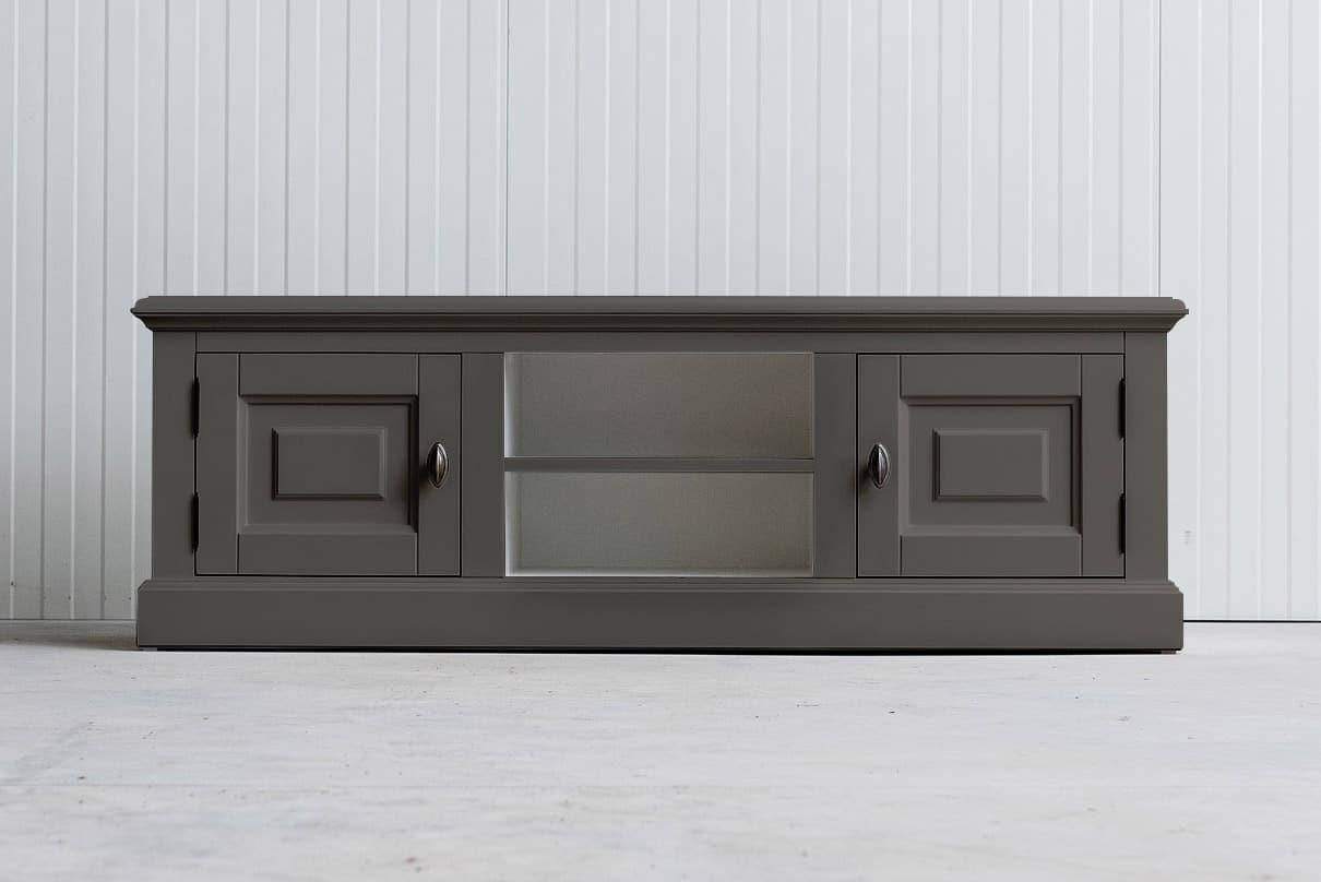 Landelijk tv-meubel Bo 2×2 kwartsgrijs (RAL 9001)