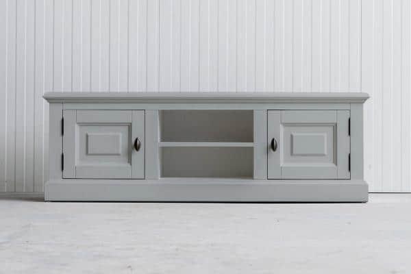 Landelijk Tv-meubel Bo 2-deuren 2-open vak lichtgrijs.