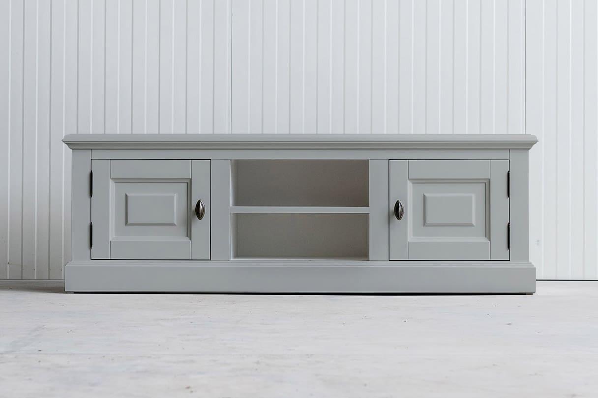 Landelijk tv-meubel Bo 2×2 lichtgrijs (RAL 7035)