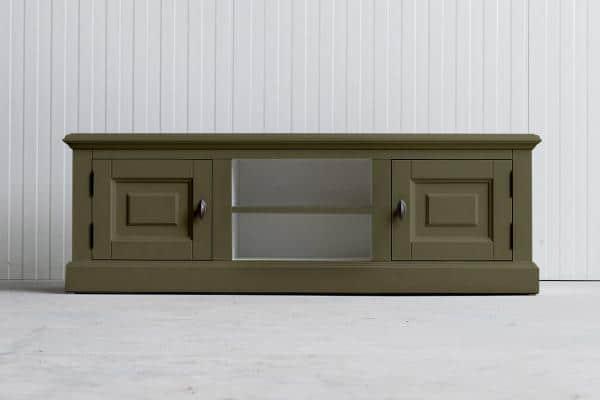 Landelijk Tv-meubel Bo 2-deuren 2-open vak Rietgroen.