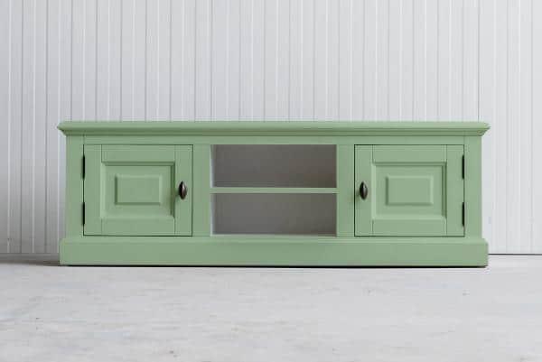 Landelijk Tv-meubel Bo 2-deuren 2- open vak Witgroen.