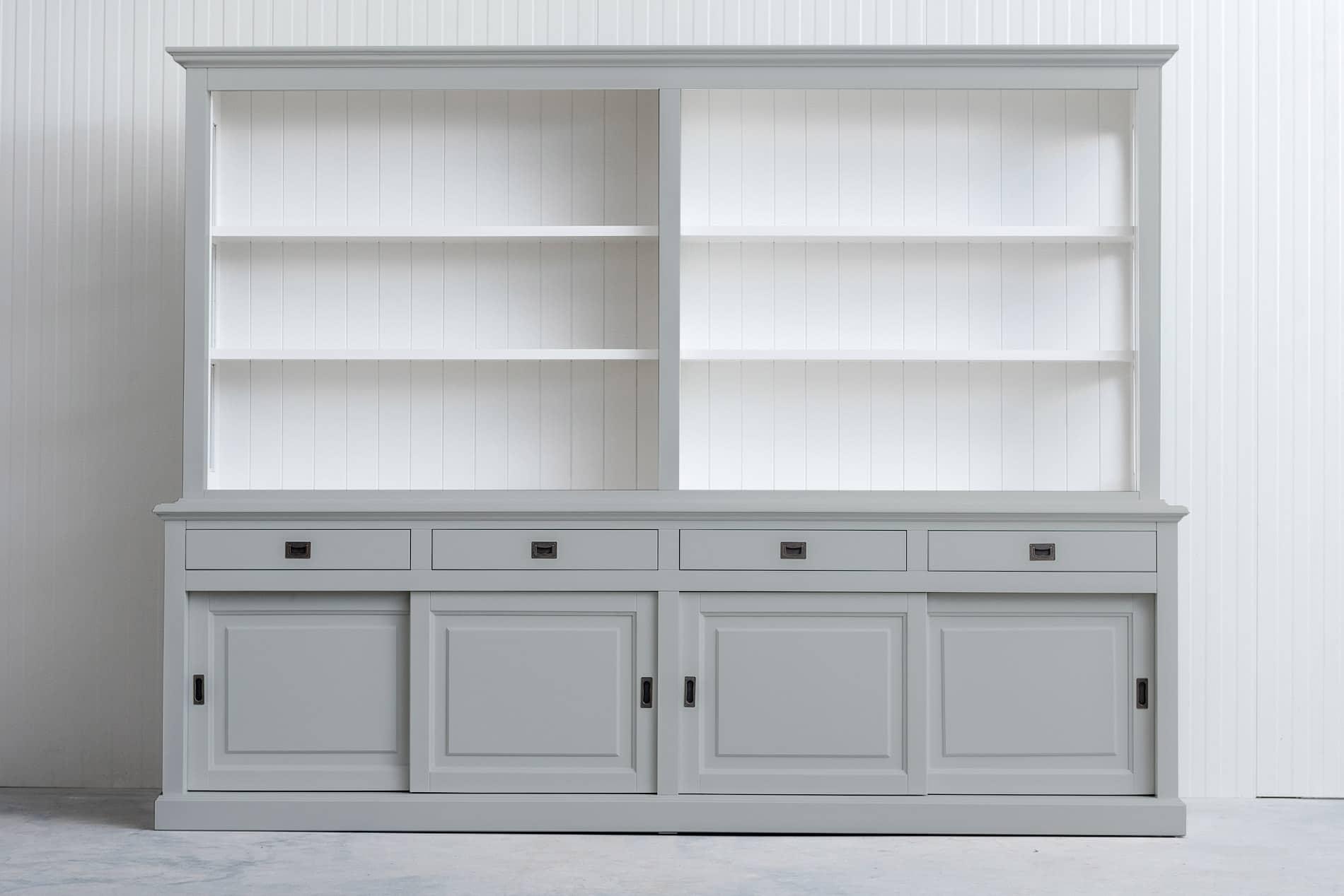 Landelijke Boekenkast Bo 3M met schuifdeuren – Lichtgrijs – RAL7035