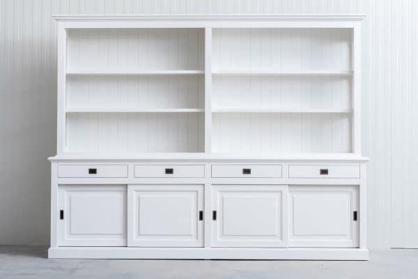 Landelijke Boekenkast Bo 3M met schuifdeuren - Wit
