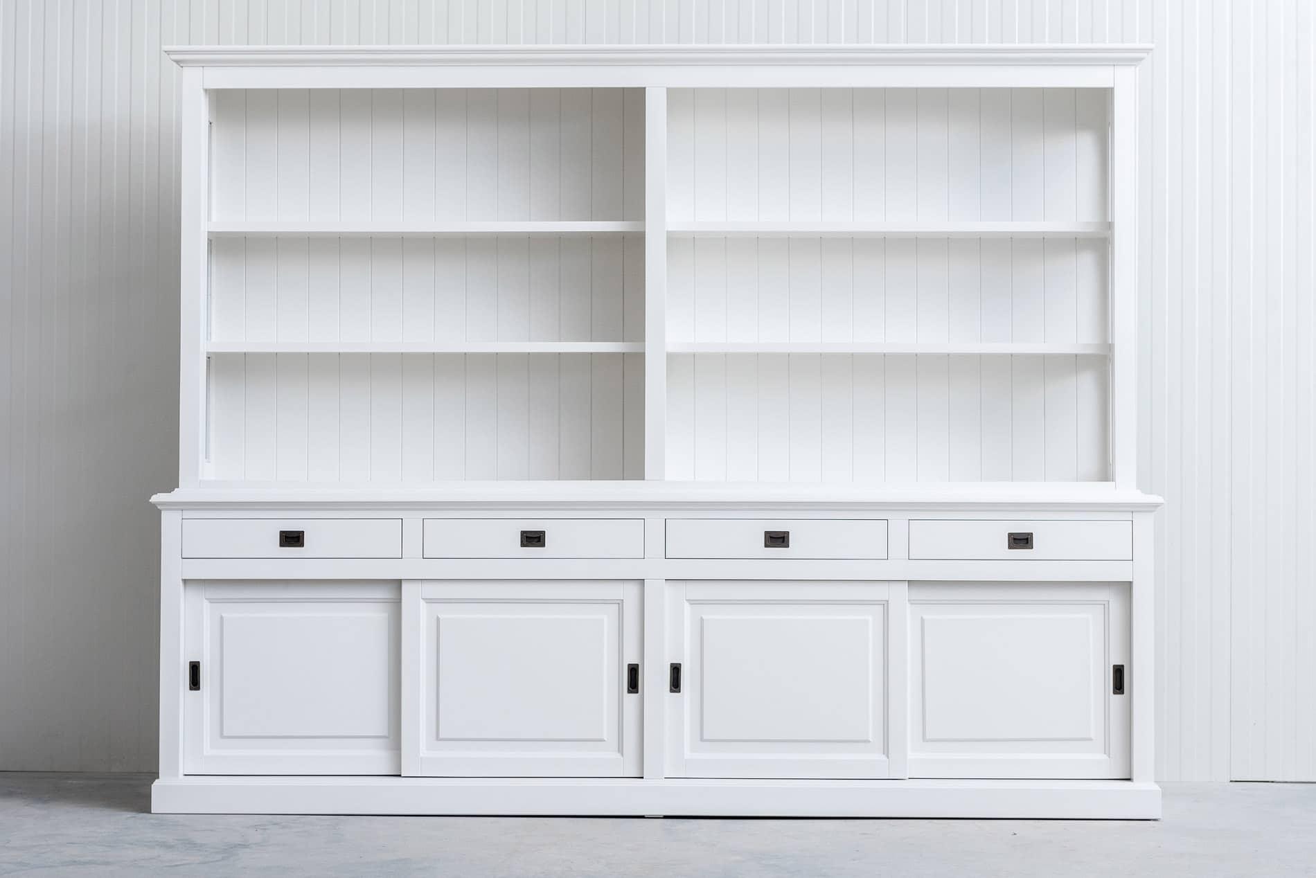 Landelijke Boekenkast Bo 3M met schuifdeuren – Wit