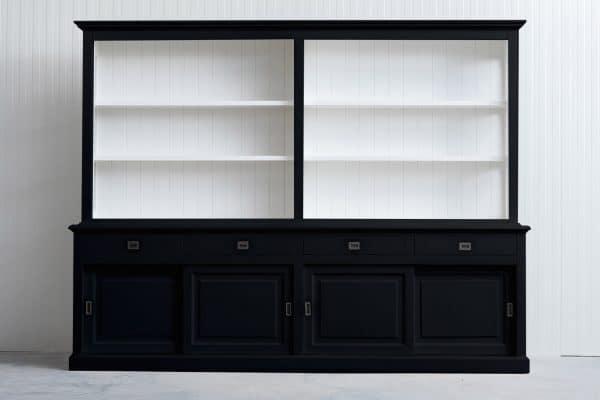 Landelijke Boekenkast Bo 3M met schuifdeuren - Zwart