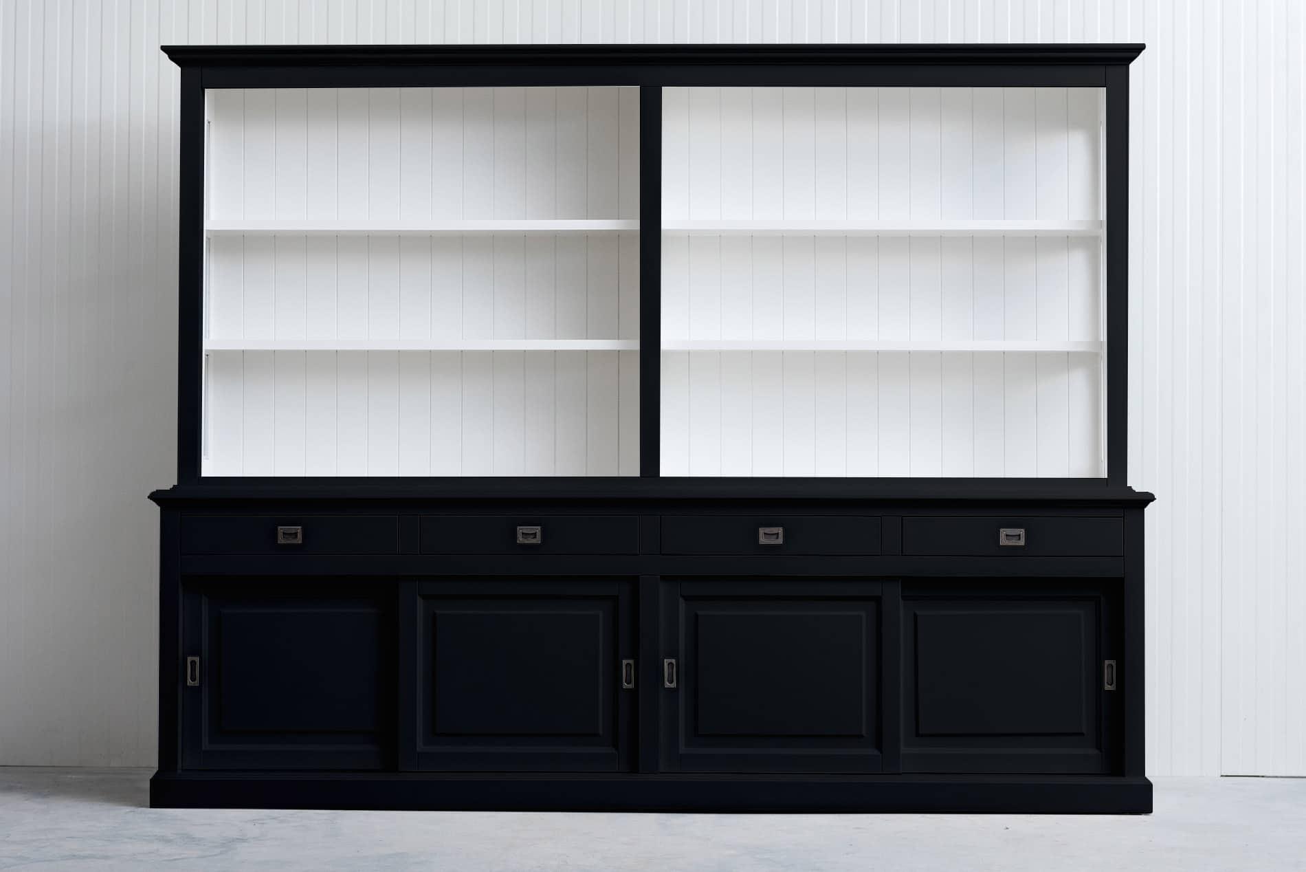 Landelijke Boekenkast Bo 3M met schuifdeuren – Zwart