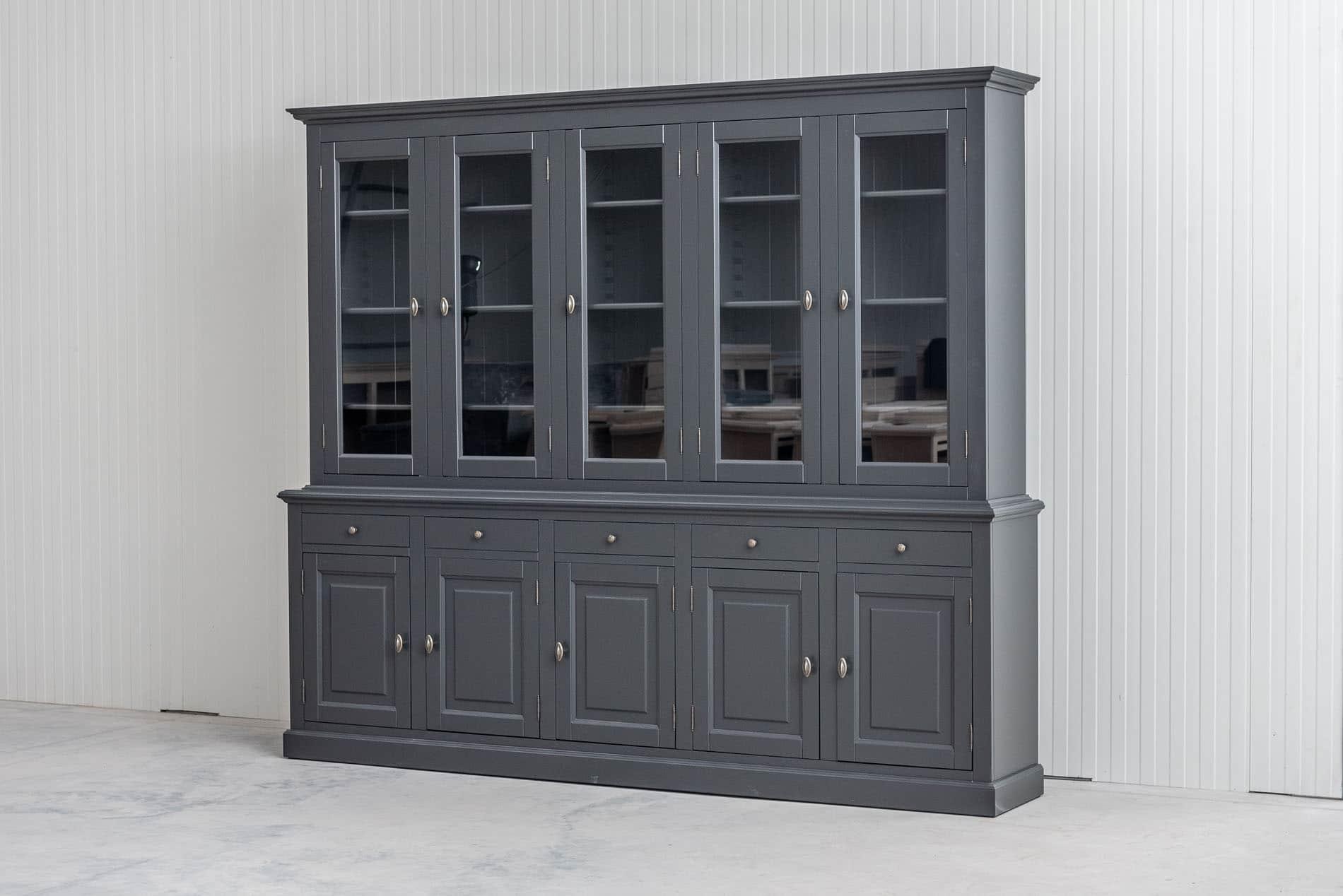 Landelijke Buffetkast BO 2×5 deuren 5-laden – Kwartsgrijs