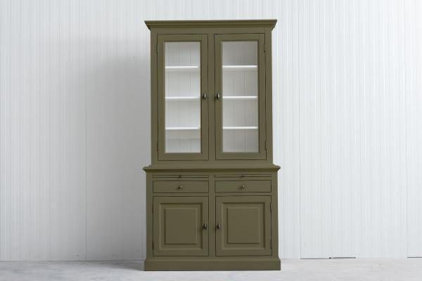 Landelijke Buffetkast Bo 2x2-deuren 2-laden groen.