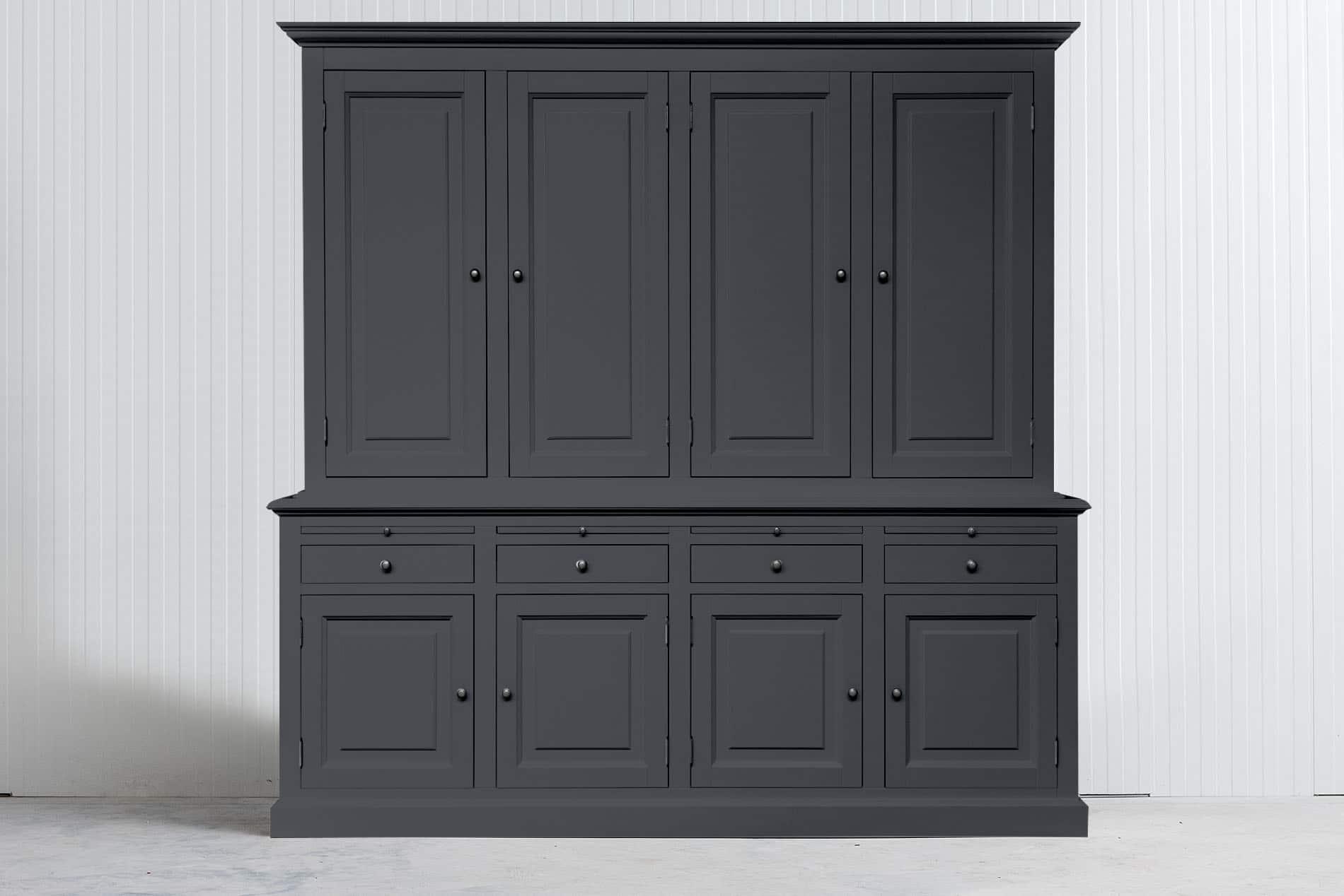Landelijke Buffetkast Bo 2×4 Wit met dichte deuren – Leigrijs – RAL7015