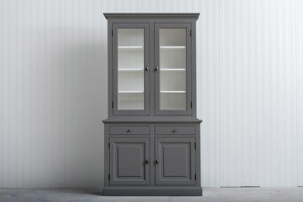 Landelijke Buffetkast Bo 2x2-deuren 2-laden Donker-Grijs.