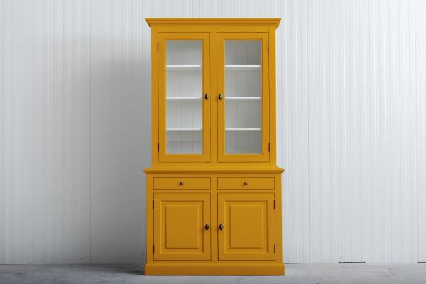 Landelijke Buffetkast Bo 2x2-deuren 2-laden Goudgeel.