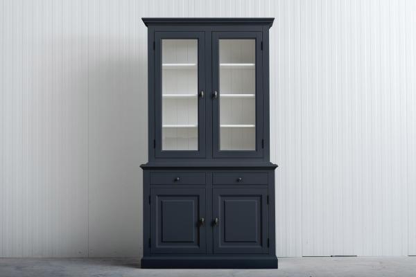 Landelijke Buffetkast Bo 2x2-deuren 2-laden Grafietgrijs.