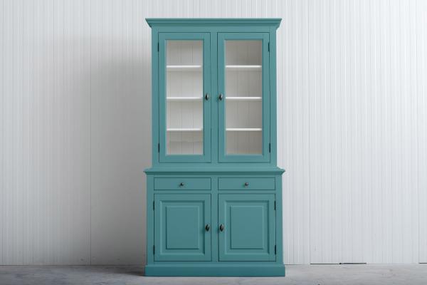Landelijke buffetkast Bo 2x2-deuren 2-laden aqua.