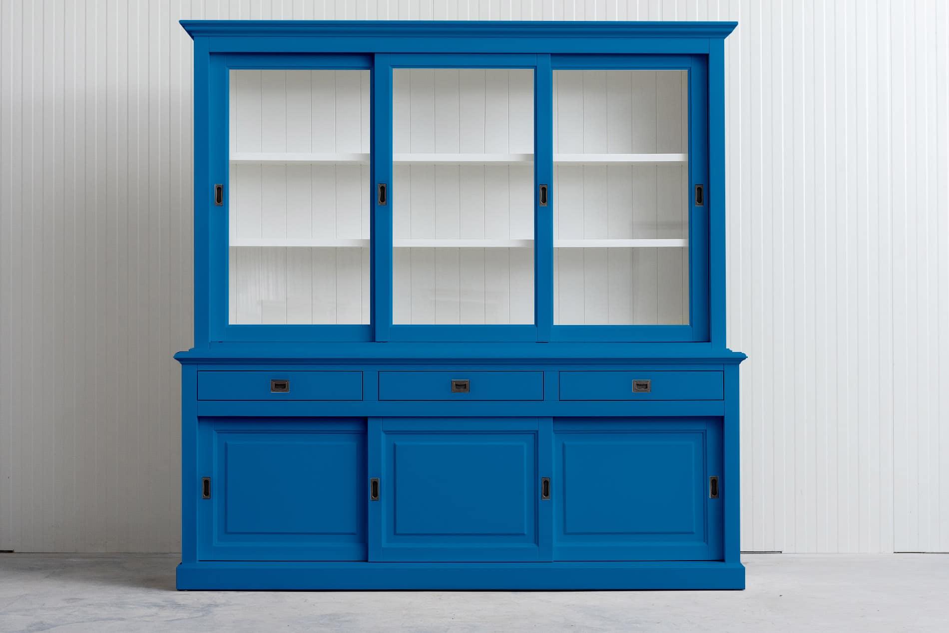 Landelijke Buffetkast Bo met schuifdeuren 230 cm – Hemelsblauw RAL5015