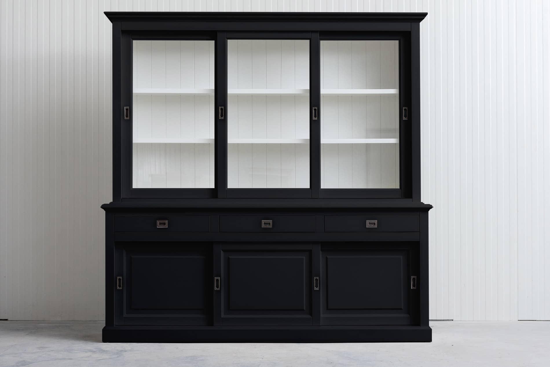 Landelijke Buffetkast Bo met schuifdeuren 230 cm – Zwart