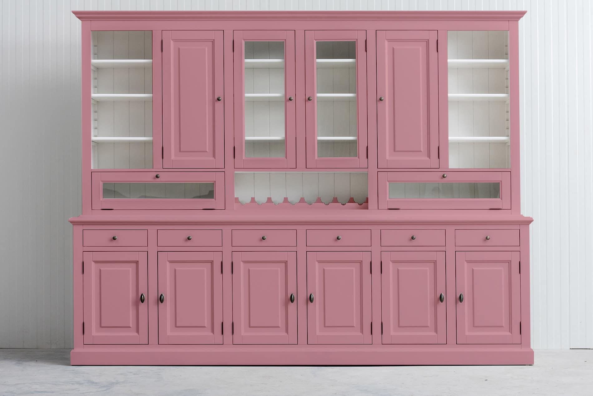 Landelijke Buffetkast met wijnrek- in de kleur Roze – RAL3015