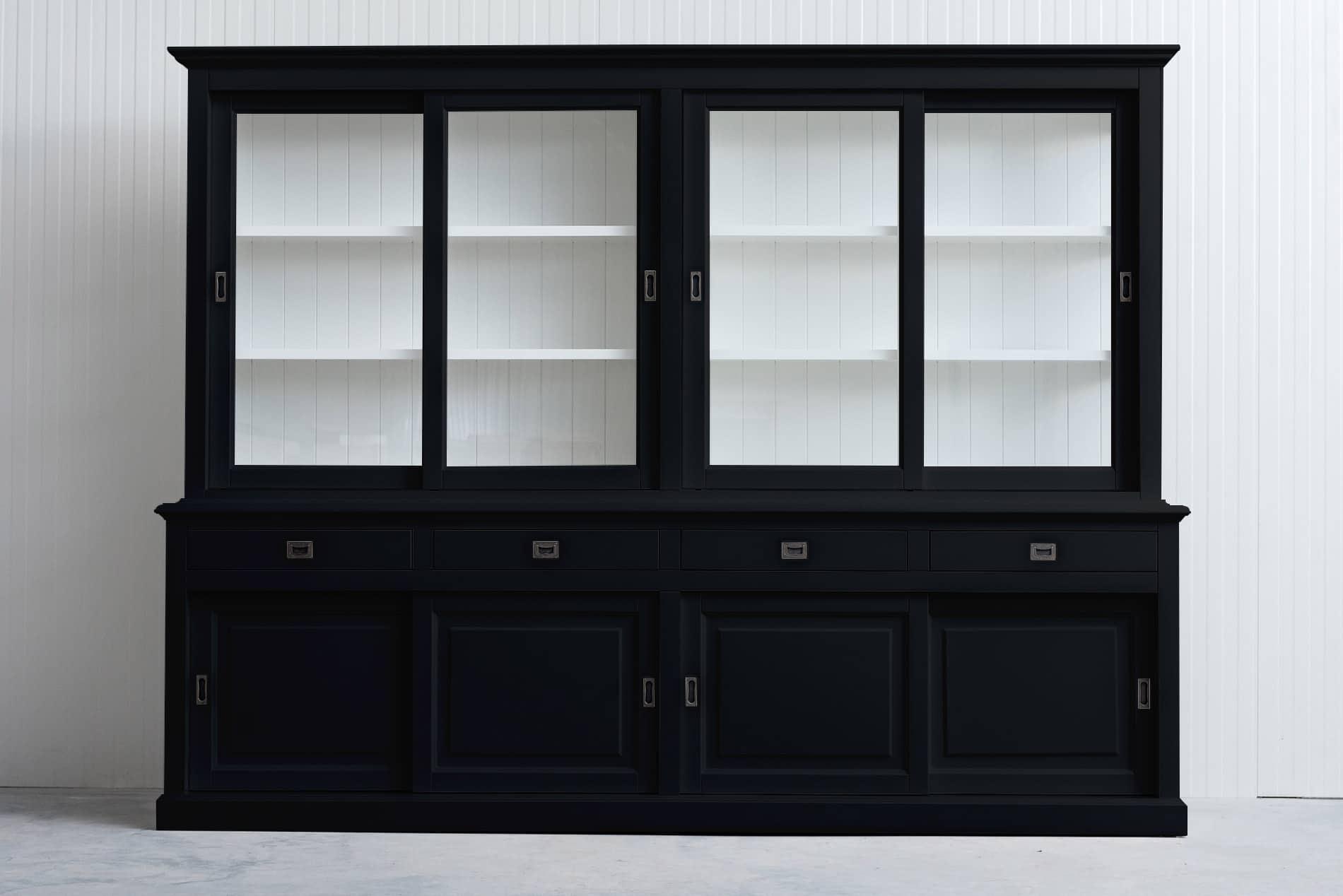 Landelijke Buffetkast van 300cm met Schuifdeur – Zwart