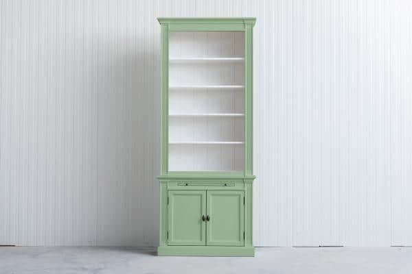 Landelijke Boekenkast Bo wit groen 1M.