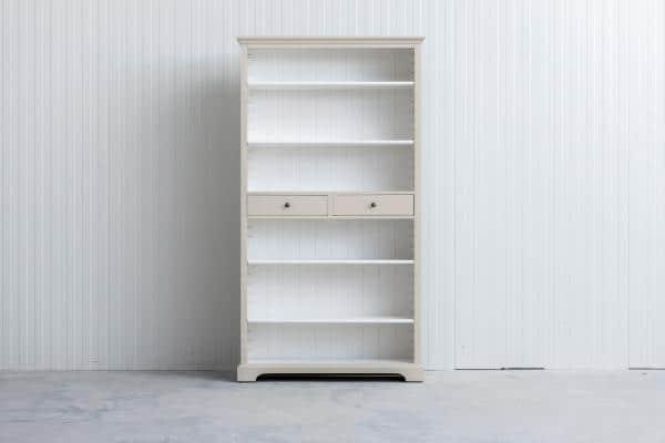 Landelijke boekenkast Bo 2-laden Crèmewit.
