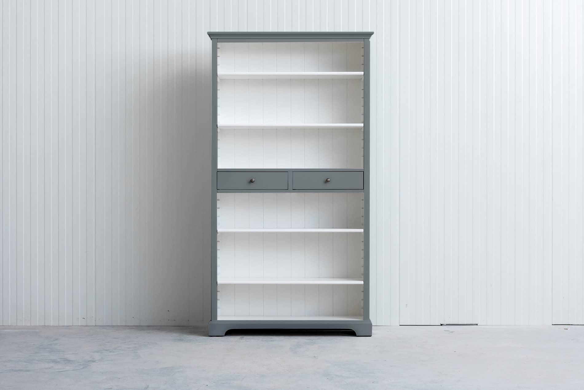 landelijke boekenkast bo 2 laden grijs