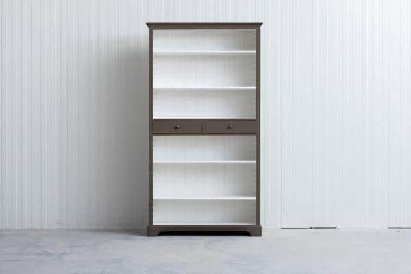 Landelijke boekenkast Bo 2-laden Olijf-grijs.